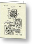 Sports Art Drawings Greeting Cards - 1936 Patent Art Dart Board Greeting Card by Prior Art Design