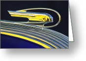 Oval Greeting Cards - 1936 Pontiac Hood Ornament Greeting Card by Jill Reger