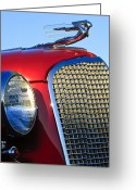 Vintage Hood Ornaments Greeting Cards - 1937 Cadillac V8 Hood Ornament 2 Greeting Card by Jill Reger