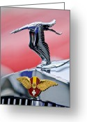 Suiza Greeting Cards - 1937 Hispano-Suiza Hood Ornament Greeting Card by Jill Reger