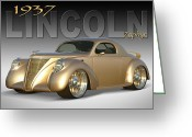 Gold Ford Greeting Cards - 1937 Lincoln Zephyr Greeting Card by Mike McGlothlen