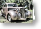 Street Rods Greeting Cards - 1939 Packard coupe Greeting Card by Richard Rizzo