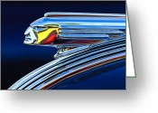 Hood Ornament Greeting Cards - 1939 Pontiac Silver Streak Chief Hood Ornament 3 Greeting Card by Jill Reger