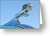 Car Mascot Greeting Cards - 1940 Dodge Business Coupe Hood Ornament Greeting Card by Jill Reger