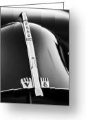 Ford V8 Greeting Cards - 1940 Ford V8 Hood Ornament black and white Greeting Card by Jill Reger