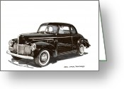 90s Greeting Cards - 1940 Studebaker Business Coupe Greeting Card by Jack Pumphrey