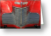 Chrome Grill Greeting Cards - 1940 Vintage Chevrolet Grill Greeting Card by Suzanne Gaff