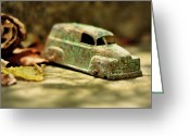 Brown Leaves Greeting Cards - 1940s Green Chevy Sedan Style Toy Car Greeting Card by Rebecca Sherman