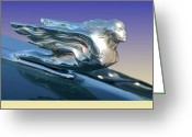 Mascots Digital Art Greeting Cards - 1941 Cadillac Mascot Greeting Card by Jack Pumphrey