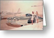 Runner Greeting Cards - 1941 Chrysler concept styling rendering Gil Spear Greeting Card by ArtFindsUSA