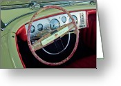 Cowl Greeting Cards - 1941 Chrysler Newport Dual Cowl Phaeton Steering Wheel Greeting Card by Jill Reger