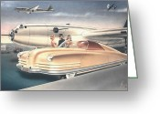 Barracuda Greeting Cards - 1941 Chrysler styling concept rendering Gil Spear Greeting Card by ArtFindsUSA