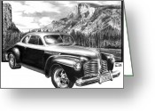 Pencil Greeting Cards - 1941 Roadmaster - Half Dome Greeting Card by Peter Piatt