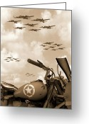 B Greeting Cards - 1942 Indian 841 - B-17s Greeting Card by Mike McGlothlen