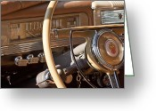 Victoria Greeting Cards - 1942 Packard Darrin Convertible Victoria Steering Wheel Greeting Card by Jill Reger