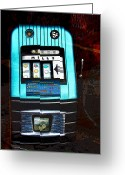 Cent Greeting Cards - 1945 Mills High Top 5 Cent Nickel Slot Machine Greeting Card by Karon Melillo DeVega