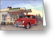 Gas Stations Greeting Cards - 1946 Ford Deluxe Coupe Greeting Card by Jack Pumphrey