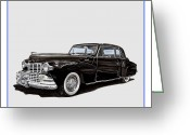 Great Sculpture Greeting Cards - 1946 Lincoln Continental MK 1 Greeting Card by Jack Pumphrey