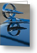Blue Buick Greeting Cards - 1947 Buick Roadmaster Hood Ornament Greeting Card by Jill Reger