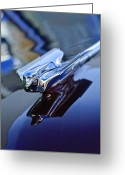 1947 Cadillac Greeting Cards - 1947 Cadillac 62 Convertible Hood Ornament Greeting Card by Jill Reger