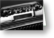 1947 Cadillac Greeting Cards - 1947 Cadillac Radio black and white Greeting Card by Jill Reger