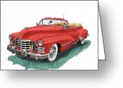 1947 Cadillac Greeting Cards - 1947 Cadillac Series 62 Convertible Greeting Card by Jack Pumphrey
