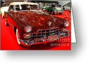 1947 Cadillac Greeting Cards - 1947 Red Cadillac Convertible . 7D9220 Greeting Card by Wingsdomain Art and Photography