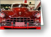 1947 Cadillac Greeting Cards - 1947 Red Cadillac Convertible . 7D9224 Greeting Card by Wingsdomain Art and Photography