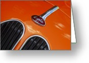 Old Car Door Greeting Cards - 1948 Anglia Hood Ornament Greeting Card by Jill Reger