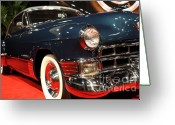 1948 Cadillac Coupe Greeting Cards - 1948 Cadillac Coupe . Low Front Angle Greeting Card by Wingsdomain Art and Photography
