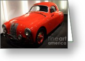 Red Sportscar Greeting Cards - 1948 Fiat 1100S - 7D17308 Greeting Card by Wingsdomain Art and Photography
