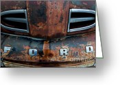 Rusted Cars Greeting Cards - 1948 Ford Greeting Card by Francis Riley