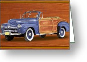 Sportsmen Greeting Cards - 1948 Ford Sportsman Convert. Greeting Card by Jack Pumphrey