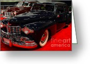 Sportscars Greeting Cards - 1948 Lincoln Continental Coupe . Deep Blue . 7D9256 Greeting Card by Wingsdomain Art and Photography