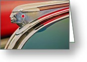 Woody Wagon Greeting Cards - 1948 Pontiac Chief Hood Ornament Greeting Card by Jill Reger