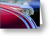 Twitter Greeting Cards - 1948 Pontiac Streamliner Woodie Station Wagon Hood Ornament Greeting Card by Jill Reger