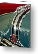 Car Mascot Greeting Cards - 1948 Pontiac Streamliner Woody Wagon Hood Ornament Greeting Card by Jill Reger