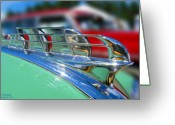 1949 Plymouth Greeting Cards - 1949 Plymouth Hood Ornament Greeting Card by Larry Keahey