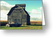 Lyle Hatch Greeting Cards - 1950 Cadillac Barn Cornfield Greeting Card by Lyle Hatch
