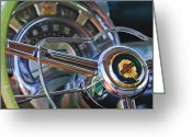 1950 Greeting Cards - 1950 Chrysler New Yorker Coupe Steering Wheel Emblem Greeting Card by Jill Reger