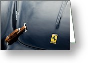Exotic Greeting Cards - 1950 Ferrari Hood Emblem Greeting Card by Jill Reger