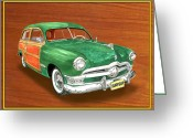 Sportsmen Greeting Cards - 1950 Ford Country Squire Woody Greeting Card by Jack Pumphrey