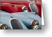 Roadster Greeting Cards - 1950 Jaguar XK120 Roadster Greeting Card by Jill Reger