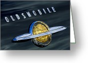 Oldsmobile Greeting Cards - 1950 Oldsmobile 88 Emblem Greeting Card by Jill Reger