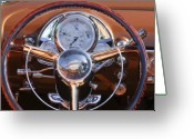 1950 Greeting Cards - 1950 Oldsmobile Rocket 88 Steering Wheel 2 Greeting Card by Jill Reger