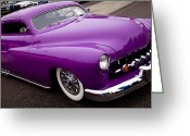 Car Ornaments Greeting Cards - 1950 Purple Mercury Greeting Card by David Patterson
