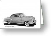 90s Greeting Cards - 1951 Chevrolet Coupe Greeting Card by Jack Pumphrey