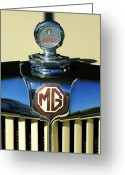 Car Mascot Greeting Cards - 1951 MG TD Messko Thermometer Hood Ornament Greeting Card by Jill Reger