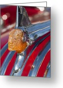  Collector Hood Ornaments Greeting Cards - 1951 Pontiac Chief Hood Ornament Greeting Card by Jill Reger