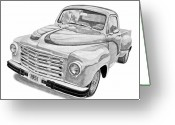 Storm Prints Drawings Greeting Cards - 1951 Studebaker Pickup Truck Greeting Card by Daniel Storm